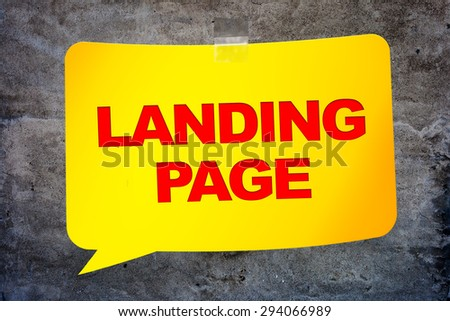 """""""Landing page"""" in the yellow banner textural background. Design template. - stock photo"""