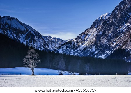 Landscape of snowy mountains in winter with lonely tree in foreground.Seewiesen,Austria. - stock photo