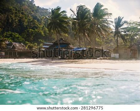 landscape of tropical island beach. Perhentian Kecil island, Malaysia. - stock photo