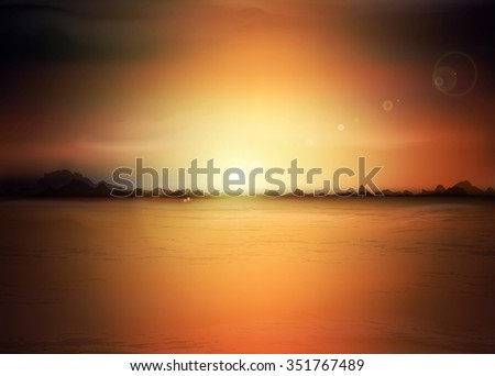landscape with a rising sun and mountains - stock photo