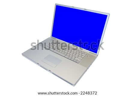 "17"" laptop computer with blue screen isolated on white background, complete with clipping paths."