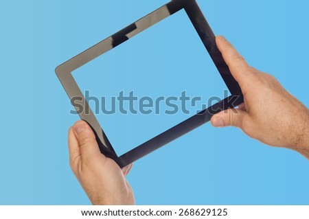 laptop. tablet computer. a computer that is portable and suitable for use while traveling.  Photography Studio - stock photo