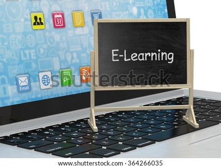 Laptop with chalkboard, e-learning, online education concept - stock photo
