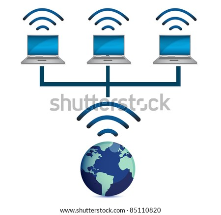 laptops wireless connected and earth globe