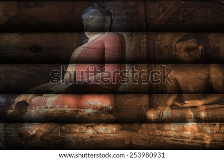 """large buddha in Bagan"" Mural. The wood painting  concept"