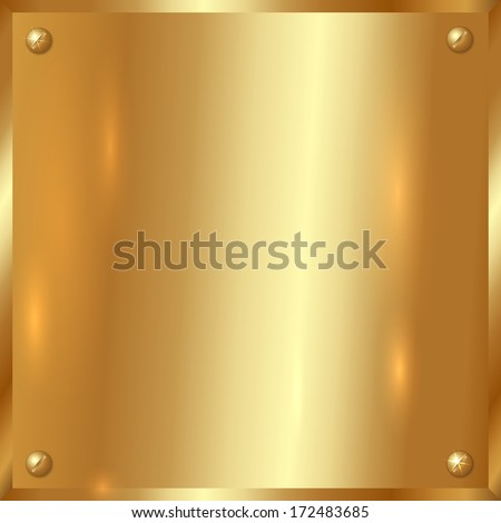 large square golden plate with screws - stock photo