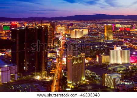 LAS VEGAS - MARCH 31: An aerial view of Las Vegas strip on March 31, 2009 in Las Vegas. The strip is approximately  4.2 mi (6.8 km) long. - stock photo