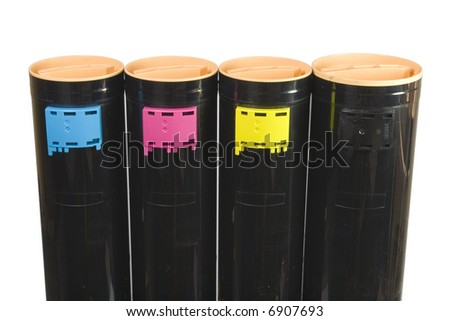 4 laser color toners CMYK stand up - stock photo