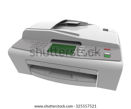 laser printed isolated on white background