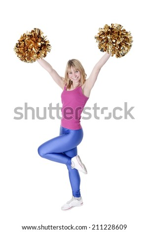 laughing young blond cheerleader rejoicing