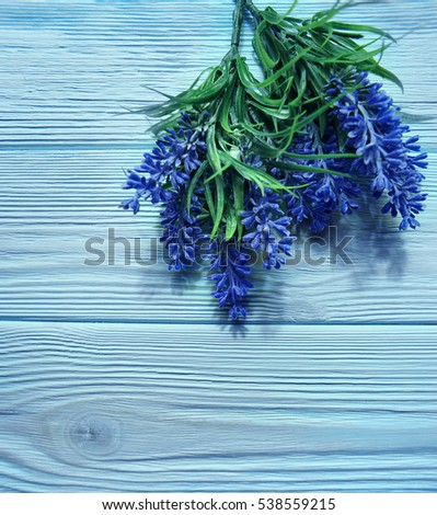 lavender flowers on blue wood table background