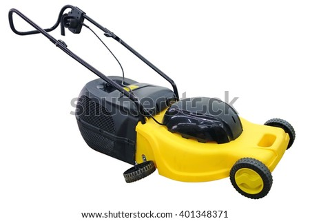 Lawnmower with a broken wheel isolated on a white background