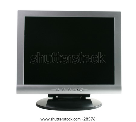 "15"" LCD Display Full Frontal View. Contains clipping path - stock photo"