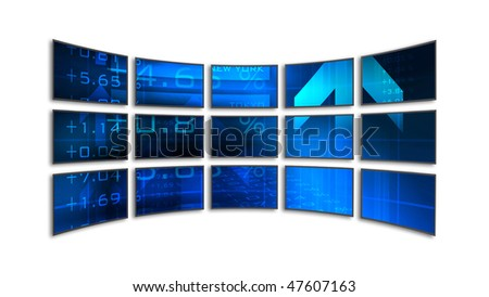 15 LCD / plasma screens showing business data. - stock photo