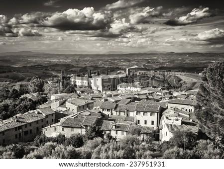 0ld town of san gimignano - stock photo