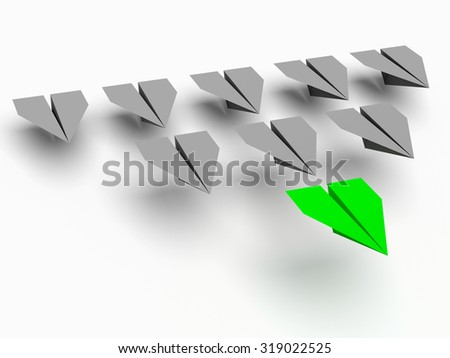 Leadership concept. One leader plane leads other grey planes forward - stock photo