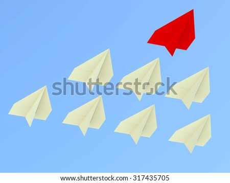Leadership concept. One red leader plane leads other planes forward - stock photo
