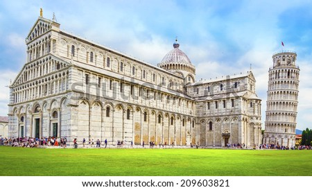 Leaning Tower of Pisa and the Pisa Cathedral in Piazza dei Miracoli, Pisa, Italy - stock photo