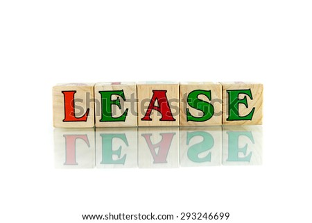 lease colorful wooden word block on the white background