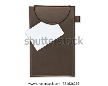 leather call card holder with blank white card  on white. - stock photo