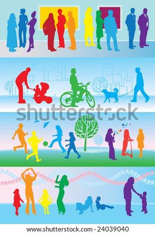 30 leisure activities silhouettes background, rainbow - stock photo