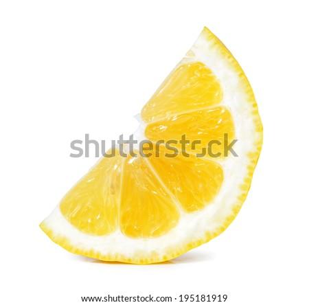 lemon slice isolated on white - stock photo