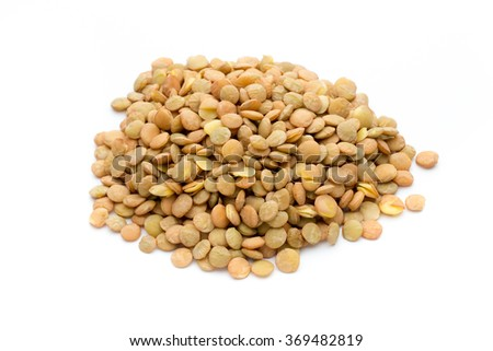 Lentils isolated on white background.Macro shot