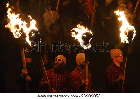 26.1.2016 LERWICK: Up helly aa Viking festival happening anually on Shetland Islands