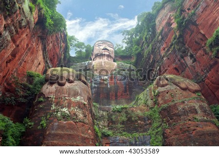 Leshan Grand Buddha is a famous cultural and historical spot in Sichuan Leshan, China, which is the world's biggest stone sitting buddha statue - stock photo
