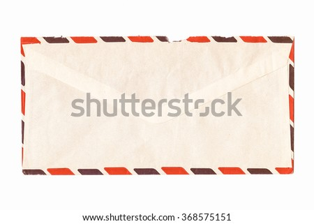 Letter or small packet envelope isolated over white vintage - stock photo