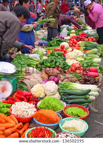 LHASA, TIBET-NOVEMBER 12: vegetables seller in Barkhor Street. The ancient street is a symbol of Lhasa and a must see place for visitors. November 12, 2004 in Lhasa, Tibet