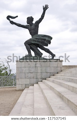 Liberty Statue on Gellert hill in Budapest - stock photo