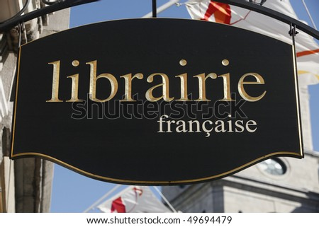 """""""Librairie Francaise"""" - French bookshop - language issues and learning - stock photo"""