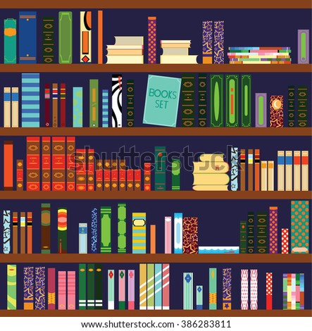 Library. Books and Knowledge. Vector flat illustration. - stock photo