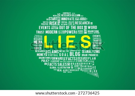 LIES word on speech bubble in green background - stock photo