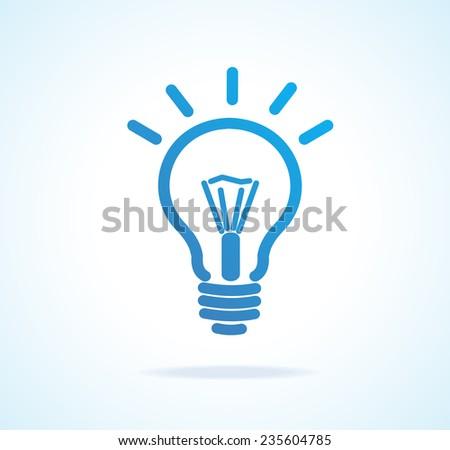 Light bulb icon blue. Isolated on white - stock photo