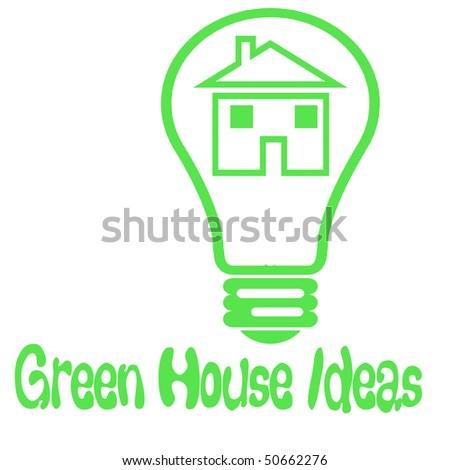 light bulb on white green house idea poster - stock photo