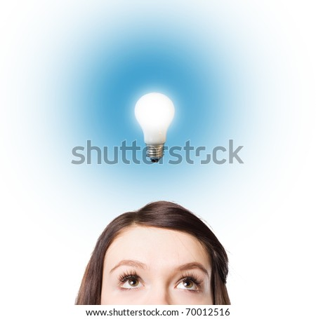 light bulbs  as conceptual symbol of businessperson successful innovation - stock photo