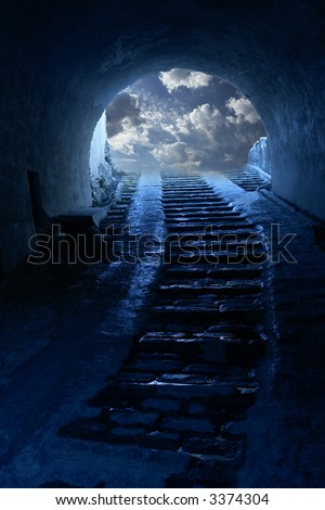 Light in tunnel - stock photo
