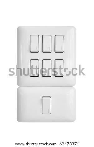 light switch isolated on white background - stock photo