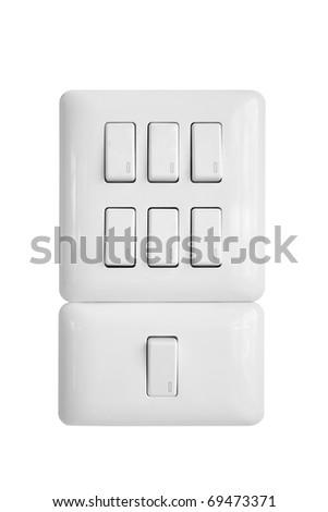 light switch isolated on white background - stock photo
