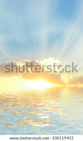 Lighted Clouds Beautiful Halo - stock photo