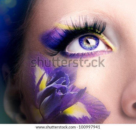 Lilac eye make-up - stock photo