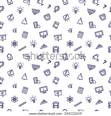 line style school accessories seamless pattern. Cute back to school background