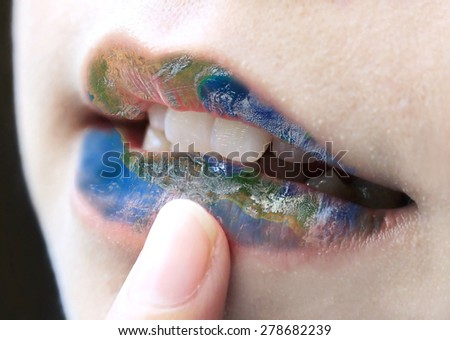 lips with world map, including elements furnished by NASA - stock photo