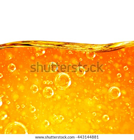Liquid flows orange wave, for the project, oil, honey, beer, juice or other variants, area for text on white background - stock photo