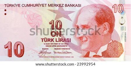 10 Lira banknote front - stock photo