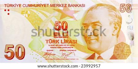 50 Lira banknote front - stock photo