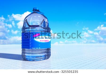 6 liter bottle of drinking water 3d rendering. - stock photo