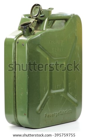 5 liter fuel canister isolated on white background (translation: fuel / 5 liter / flammable) - stock photo